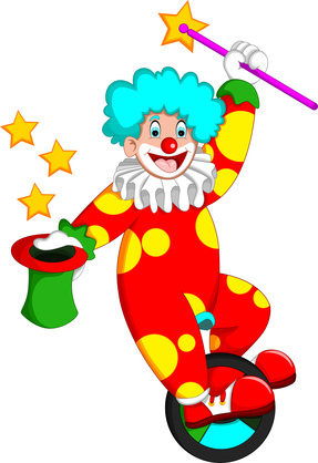 funny clown cartoon up monocycle with laughing and bring hat